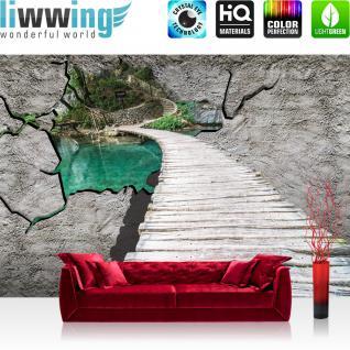 liwwing Vlies Fototapete 312x219cm PREMIUM PLUS Wand Foto Tapete Wand Bild Vliestapete - Wasser Tapete Steg Meer Natur Steinwand Paradies blau - no. 3013