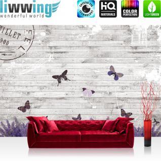 liwwing Vlies Fototapete 312x219cm PREMIUM PLUS Wand Foto Tapete Wand Bild Vliestapete - Holz Tapete Holzwand Holzoptik Holz Lavendel Schmetterling Natur grau - no. 1994