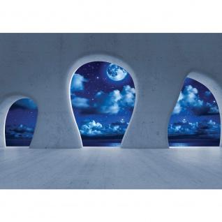 Fototapete Architektur Tapete Himmel Nacht Sterne Mond Wolken Meer Baustil Bauform blau | no. 2394