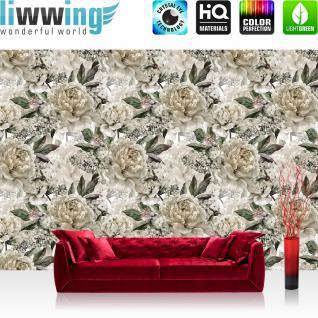 liwwing Vlies Fototapete 312x219cm PREMIUM PLUS Wand Foto Tapete Wand Bild Vliestapete - Blumen Tapete Rosen Blüten Natur groß weiß - no. 3549
