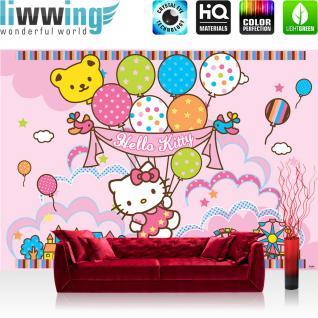 liwwing Fototapete 368x254 cm PREMIUM Wand Foto Tapete Wand Bild Papiertapete - Mädchen Tapete Hello Kitty - Kindertapete Cartoon Katze Luftballons Sterne rosa - no. 1021
