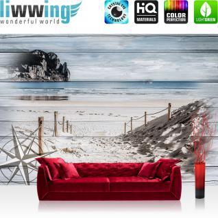 liwwing Fototapete 368x254cm PREMIUM Wand Foto Tapete Wand Bild Papiertapete - Meer Tapete Sand Küste Windrose Felsen Kutter weiß - no. 3182