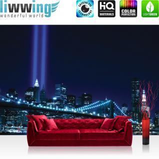 liwwing Fototapete 254x168 cm PREMIUM Wand Foto Tapete Wand Bild Papiertapete - Manhattan Tapete Skyline Bridge Night Lightning blau Manhattan - no. 329