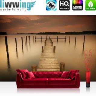 liwwing Fototapete 254x168 cm PREMIUM Wand Foto Tapete Wand Bild Papiertapete - Wasser Tapete See Steg Nebel braun - no. 1255
