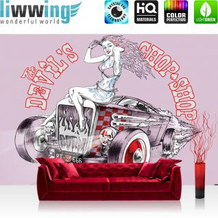 liwwing Fototapete 368x254 cm PREMIUM Wand Foto Tapete Wand Bild Papiertapete - Illustrationen Tapete Route 66 Auto Frau The Chop Shop pink - no. 1581