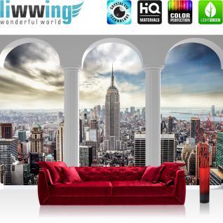 liwwing Vlies Fototapete 416x254cm PREMIUM PLUS Wand Foto Tapete Wand Bild Vliestapete - New York Tapete Skyline Bogen Himmel Aussicht New York Empire State Building weiß - no. 2122