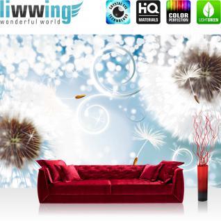 liwwing Vlies Fototapete 416x254cm PREMIUM PLUS Wand Foto Tapete Wand Bild Vliestapete - Blumen Tapete Steinwand Blume Blüten Hufeisen beige - no. 1651