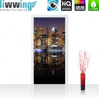 liwwing Vlies Türtapete 100x211 cm PREMIUM PLUS Tür Fototapete Türposter Türpanel Foto Tapete Bild - NEW YORK LIGHTS SKYLINE - New York City USA Amerika Empire State Building Big Apple - no. 020