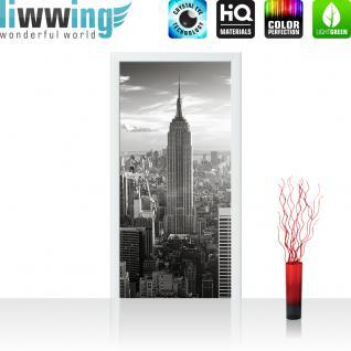 liwwing Türtapete selbstklebend 100x211 cm PREMIUM PLUS Tür Fototapete Türposter Türpanel Foto Tapete Bild - MANHATTAN SKYLINE - New York City USA Amerika Empire State Building Big Apple - no. 015