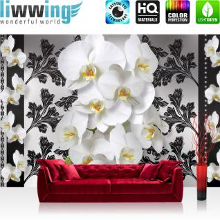 liwwing Vlies Fototapete 312x219cm PREMIUM PLUS Wand Foto Tapete Wand Bild Vliestapete - Orchideen Tapete Ornamente Blume Orchidee Blüte Ranke Blätter Herzen weiß - no. 1960