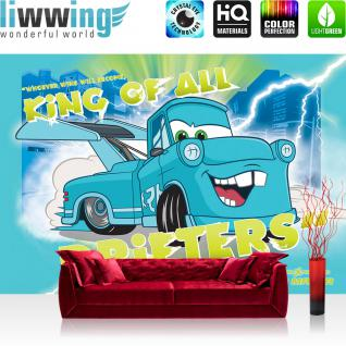 liwwing Vlies Fototapete 312x219cm PREMIUM PLUS Wand Foto Tapete Wand Bild Vliestapete - Disney Tapete Cars Kindertapete Cartoon Tokyo Mater Martin Auto blau - no. 2446