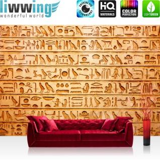 Fototapete Ägypten Tapete Hyroglyphen Alt Abstrakt Ornamente Symbole gelb   no. 180 - Vorschau 2