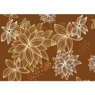 Fototapete Illustrationen Tapete Abstrakt Blüten weiß braun | no. 1108