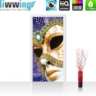 liwwing Vlies Türtapete 91x211 cm PREMIUM PLUS Tür Fototapete Türposter Türpanel Foto Tapete Bild - Maske Venedig - no. 1003