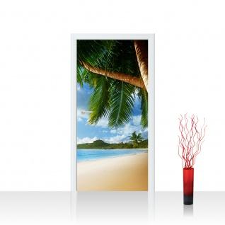 Türtapete - Lonely Beach Strand Meer Palmen Beach 3D Ozean Palme   no. 4