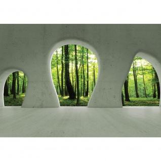 Fototapete Architektur Tapete Wald Bäume Natur Sonne Baustil Bauform grün | no. 1259