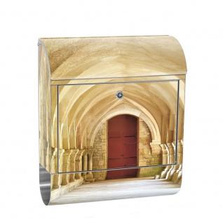 Edelstahl Wandbriefkasten XXL mit Motiv & Zeitungsrolle   Arkaden 3D Perspektive Gewölbe Säulen Spanien   no. 0065