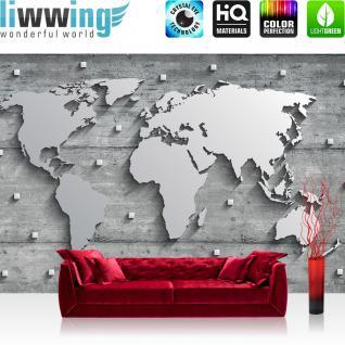 liwwing Fototapete 254x184cm PREMIUM Wand Foto Tapete Wand Bild Papiertapete - Welt Tapete Weltkarte metallic Metall Silber grau - no. 3329