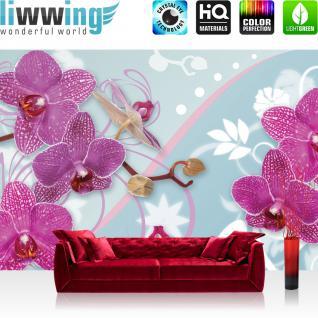 liwwing Vlies Fototapete 208x146cm PREMIUM PLUS Wand Foto Tapete Wand Bild Vliestapete - Ornamente Tapete Orchideen Blume Floral Natur bunt - no. 1199