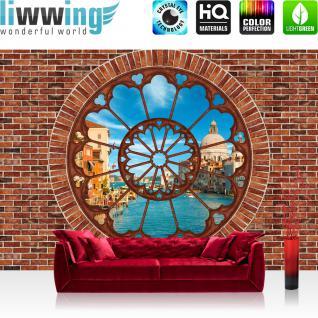 liwwing Vlies Fototapete 312x219cm PREMIUM PLUS Wand Foto Tapete Wand Bild Vliestapete - Venedig Tapete Steinmauer Steine Fenster Stadt Venedig blau - no. 1359