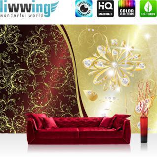 liwwing Vlies Fototapete 350x245 cm PREMIUM PLUS Wand Foto Tapete Wand Bild Vliestapete - Ornamente Tapete Vogel Diamant Muster Schnörkel Design Vintage schwarz - weiß - no. 552