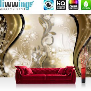 liwwing Fototapete 254x168 cm PREMIUM Wand Foto Tapete Wand Bild Papiertapete - Ornamente Tapete Blume Blüte Blätter Ranke Streifen Sterne gold - no. 2954