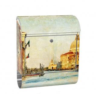 Edelstahl Wandbriefkasten XXL mit Motiv & Zeitungsrolle | Venedig Kanal Italien Stadt Wasser | no. 0228