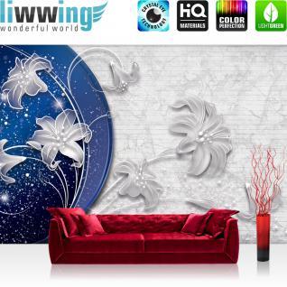 liwwing Fototapete 254x168 cm PREMIUM Wand Foto Tapete Wand Bild Papiertapete - Steinwand Tapete Stein Steinoptik Ornamente Blume Blüte Malerei weiß - no. 1499