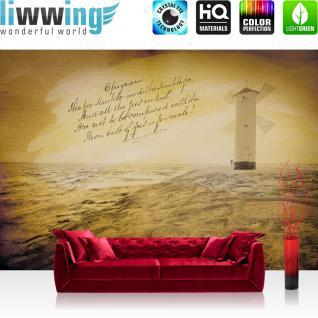 liwwing Vlies Fototapete 208x146cm PREMIUM PLUS Wand Foto Tapete Wand Bild Vliestapete - Meer Tapete Küste Gedicht Turm Felsen gelb - no. 3512