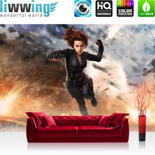 liwwing Vlies Fototapete 400x280 cm PREMIUM PLUS Wand Foto Tapete Wand Bild Vliestapete - Illustrationen Tapete Marvel - AVENGERS - Black Widow Kindertapete Cartoon grau - no. 1140