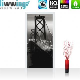 liwwing Türtapete selbstklebend 91x211 cm PREMIUM PLUS Tür Fototapete Türposter Türpanel Foto Tapete Bild - Brücke Himmel Lightning - no. 1010