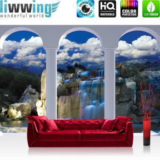 liwwing Vlies Fototapete 312x219cm PREMIUM PLUS Wand Foto Tapete Wand Bild Vliestapete - Wasser Tapete Bogen Wasserfall Felsen blau - no. 1239