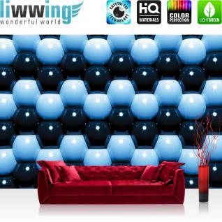 liwwing Vlies Fototapete 300x210 cm PREMIUM PLUS Wand Foto Tapete Wand Bild Vliestapete - Illustrationen Tapete Abstrakt Kugeln Mauer Retro Achtziger blau - no. 1044