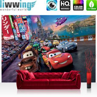 liwwing Vlies Fototapete 416x254cm PREMIUM PLUS Wand Foto Tapete Wand Bild Vliestapete - Disney Tapete Cars Kindertapete Cartoon Lightning McQueen Mater Hook Autos bunt - no. 2823