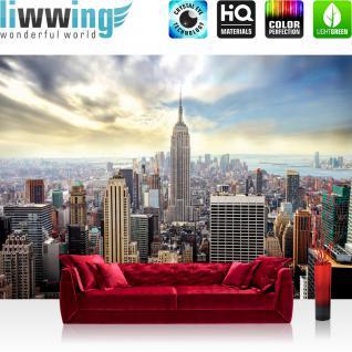liwwing Fototapete 368x254 cm PREMIUM Wand Foto Tapete Wand Bild Papiertapete - Skylines Tapete Building Tower Skyline City gelb - no. 689