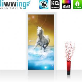 liwwing Türtapete selbstklebend 91x211 cm PREMIUM PLUS Tür Fototapete Türposter Türpanel Foto Tapete Bild - Pferd Wasser - no. 1014