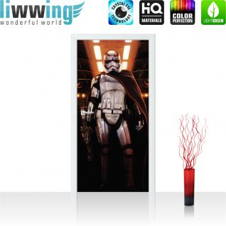 liwwing Türtapete selbstklebend 91x211 cm PREMIUM PLUS Tür Fototapete Türposter Türpanel Foto Tapete Bild - STAR WARS Stormtrooper Kindertapete Cartoon Roboter Helm Licht - no. 835