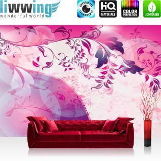 liwwing Vlies Fototapete 104x50.5cm PREMIUM PLUS Wand Foto Tapete Wand Bild Vliestapete - Ornamente Tapete Ranke Blätter Schnörkel Linien pink - no. 1930 - Vorschau 1