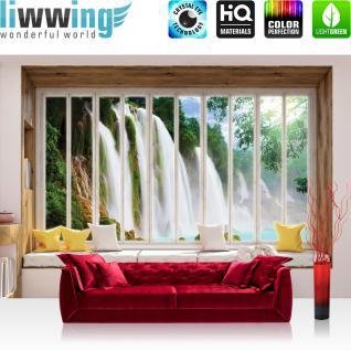 liwwing Vlies Fototapete 152.5x104cm PREMIUM PLUS Wand Foto Tapete Wand Bild Vliestapete - Wald Tapete Wasserfall See Laubwald Felsen Fenster natural - no. 3434