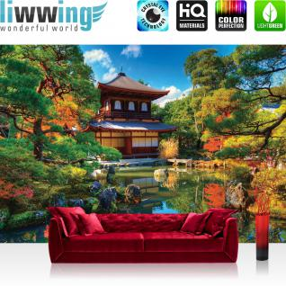 liwwing Vlies Fototapete 300x210 cm PREMIUM PLUS Wand Foto Tapete Wand Bild Vliestapete - Japan Tapete Japan Tempel Haus Eden Natur See Steine grün - no. 1098