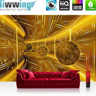 liwwing Vlies Fototapete 208x146cm PREMIUM PLUS Wand Foto Tapete Wand Bild Vliestapete - 3D Tapete Space Raumstation Micro Kugeln gold - no. 3219