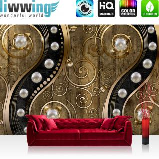 liwwing Vlies Fototapete 104x50.5cm PREMIUM PLUS Wand Foto Tapete Wand Bild Vliestapete - Illustrationen Tapete Perlen Holzwand Holz Blumen Metalloptik Formen gold - no. 1263