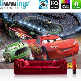 liwwing Vlies Fototapete 312x219cm PREMIUM PLUS Wand Foto Tapete Wand Bild Vliestapete - Disney Tapete Cars (PIXAR) Kindertapete Cartoons Cars Stadion Autos bunt - no. 1436