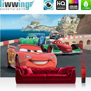 liwwing Fototapete 254x168 cm PREMIUM Wand Foto Tapete Wand Bild Papiertapete - Disney Tapete Cars Auto Kindertapete Cartoon Jungen bunt - no. 2911