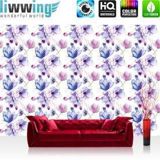 liwwing Vlies Fototapete 312x219cm PREMIUM PLUS Wand Foto Tapete Wand Bild Vliestapete - Blumen Tapete Blüten Blätter Malerei lila - no. 2154