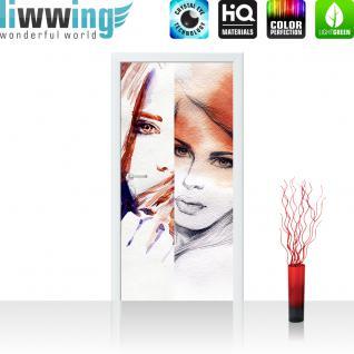 liwwing Vlies Türtapete 100x211 cm PREMIUM PLUS Tür Fototapete Türposter Türpanel Foto Tapete Bild - FACES OF WOMEN - Aquarell Frauen Woman Zeichnung Gesichter Schön Beauty - no. 116