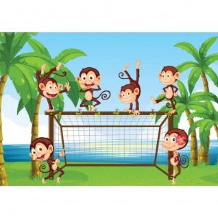 Fototapete Illustrationen Tapete Affen Tiere Kinder Palmen Meer bunt | no. 2521