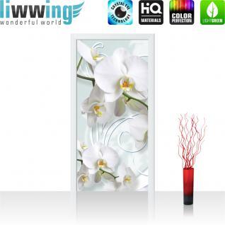 liwwing Türtapete selbstklebend 91x211 cm PREMIUM PLUS Tür Fototapete Türposter Türpanel Foto Tapete Bild - Ornamente Orchideen - no. 305
