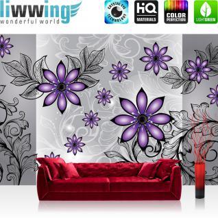 liwwing Vlies Fototapete 416x254cm PREMIUM PLUS Wand Foto Tapete Wand Bild Vliestapete - Ornamente Tapete Blume Blüte Blätter Ranke Malerei grau - no. 1459