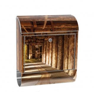 Edelstahl Wandbriefkasten XXL mit Motiv & Zeitungsrolle | Salzbergwerk Holz Bergwerk Balken 3D Tunnel | no. 0027
